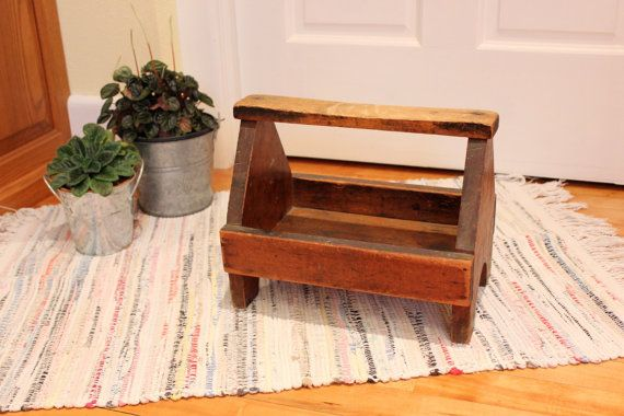 Rub It In... Vintage Primitive Wood Shoe Shine Caddy or Tool Box - Great Rustic Patina