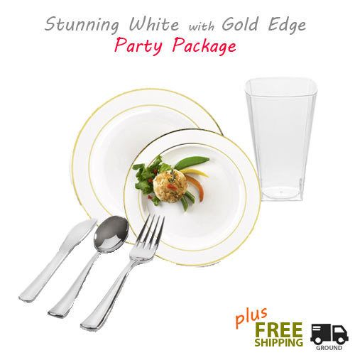 Posh Party Supplies - Silver Splendor Collection Value Party Package - 120 White with Gold Plastic  sc 1 st  Pinterest & Rimini White with Gold Banded Plastic Tableware Value Package ...