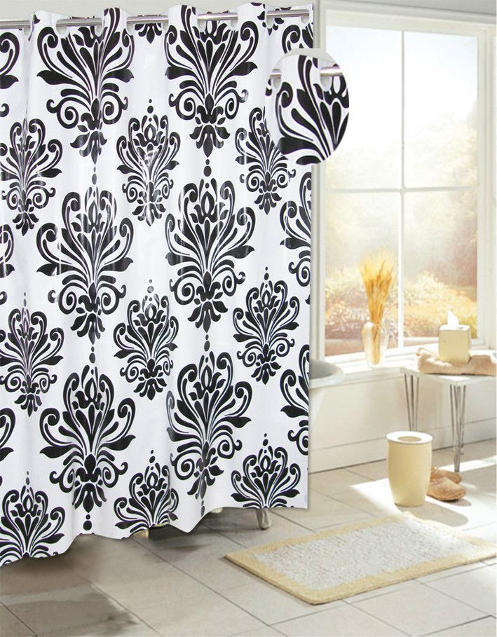 Royal Bath Easy On (No Hooks Needed) PEVA Non Toxic Shower Curtain Liner