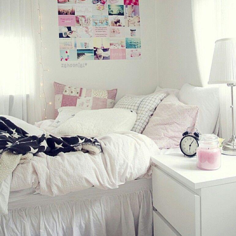 White bedroom interior girly beautiful girl photo