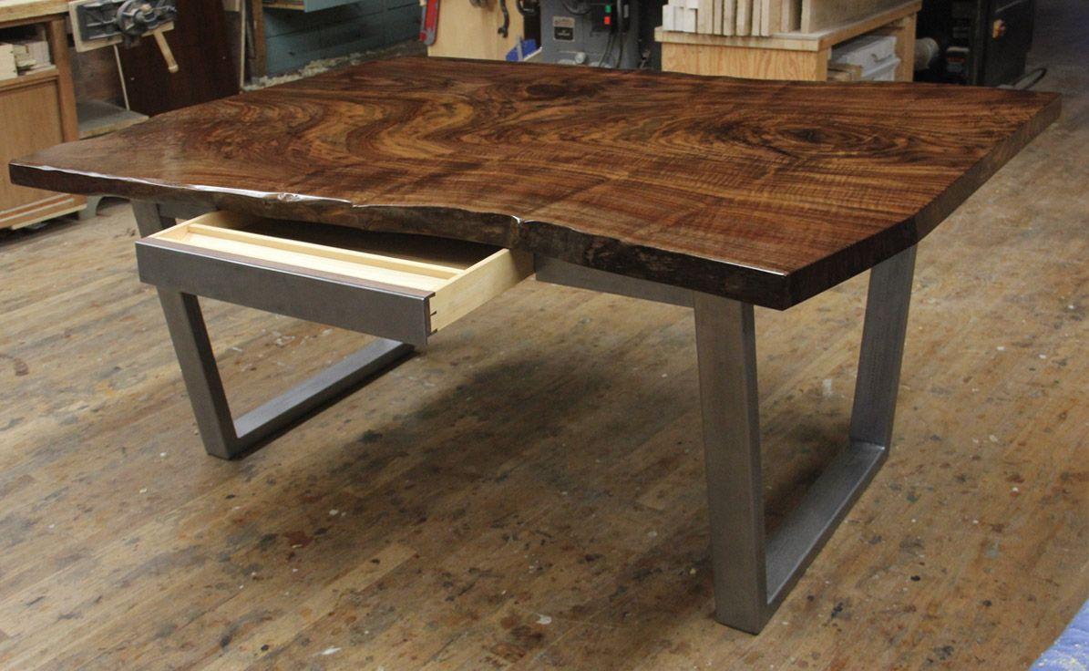 Claro Walnut Slab Table With Custom Metal Base With Drawer Slab Desk Slab Dining Tables Wood Slab Table