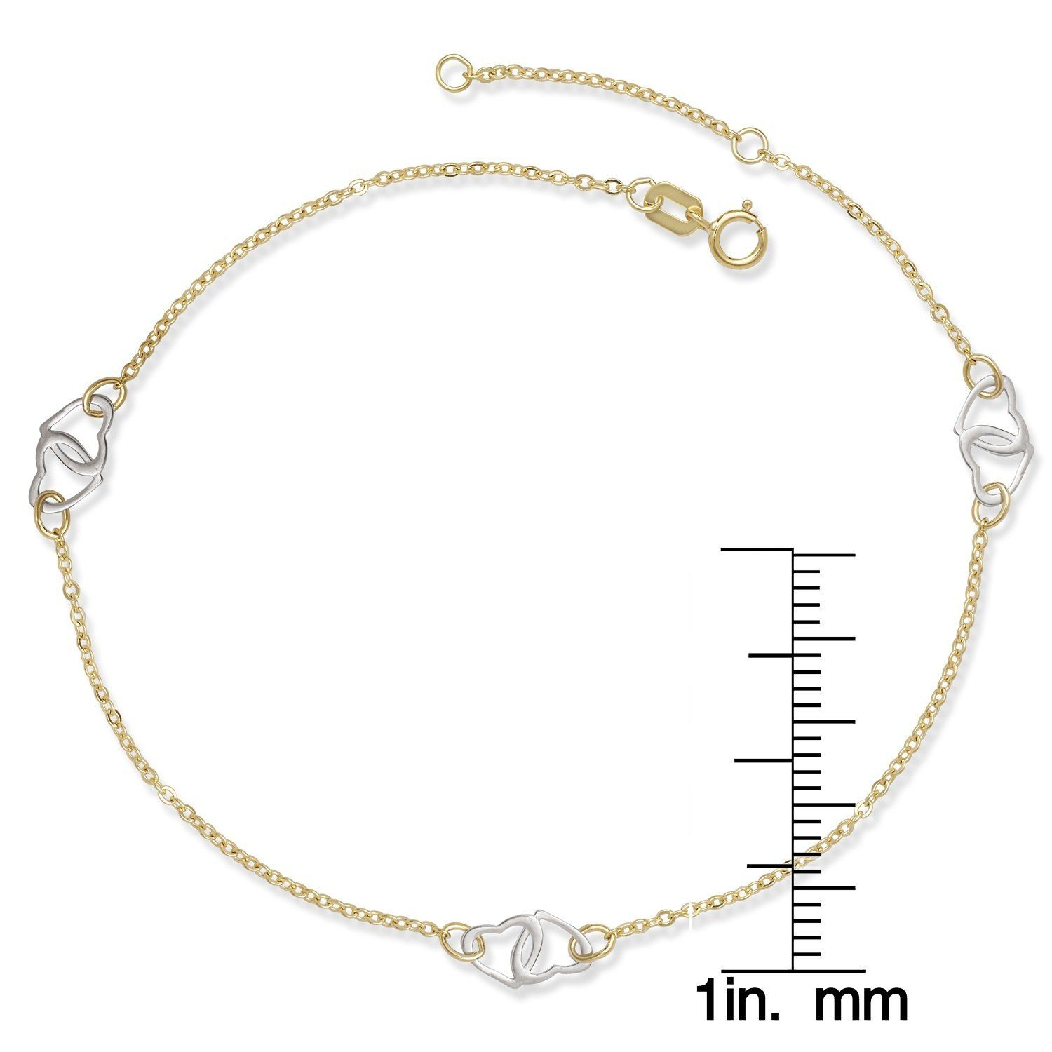 anklet rope c gold rdcl diamond solid and bracelet itm cut fine p chain