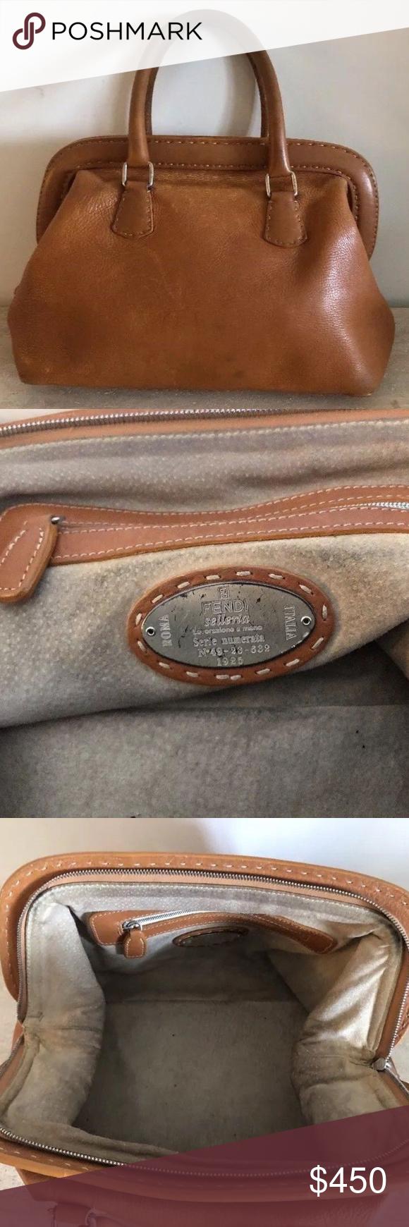 0f2febf3b7 Fendi Seleria Doctor bag congnac Leather handbag • FABULOUS FENDI LARGE  SIZED DOCTOR BAG. GUARANTEED