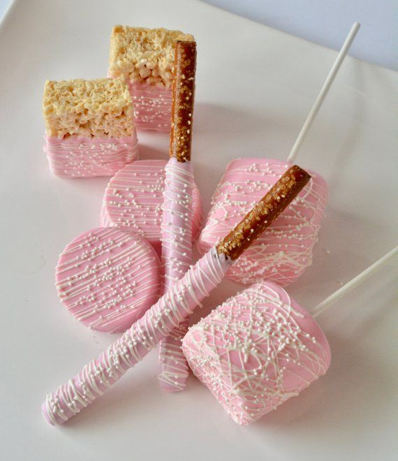 Birthday Favors, Wedding Favors, Chocolate, Bridal Favors, Baby Shower, Baby Girl, Marshmallows Chocolate Covered Oreos Rice Krispie Treats