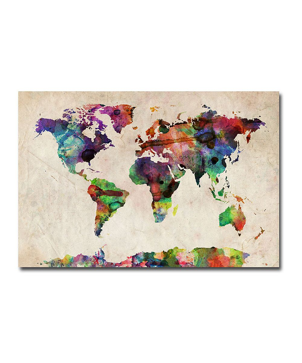 Michael Tompsett Urban Watercolor World Map Gallery Wrapped