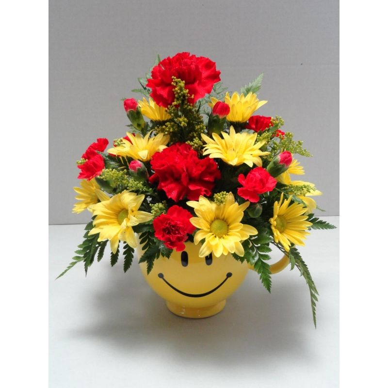 Smiley Face Mug Flowers - Fresh Flower Bouquets | w_vases_smiley ...