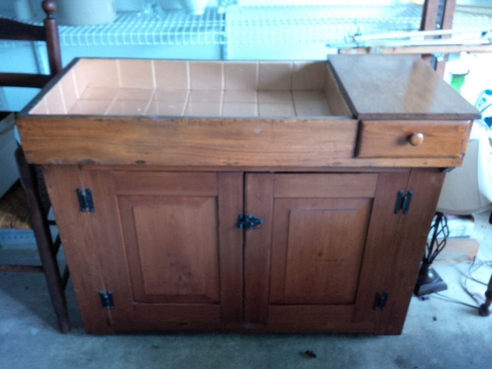 Antique C Dry Sink Primitive Vintage Kitchen Cabinet