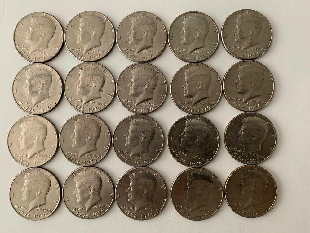 1976 Kennedy Bicentennial Half Dollars mixed lot roll 20