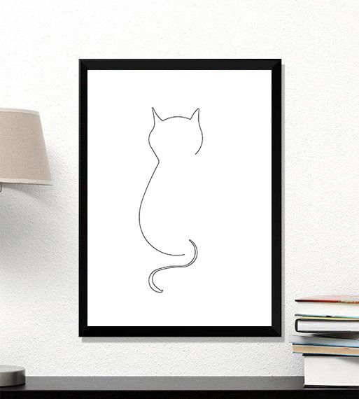 Line Cat Wall Art, Cat Poster, Cat Expression Prints, Cat Lover, Cute Cat Print, Animal Print, Gift for Cat Lovers, Gift for Him, one line