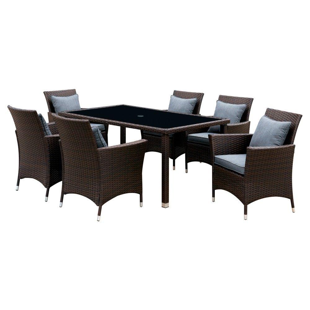 gather around this spacious chauncey 7pc modern patio dining set rh pinterest com