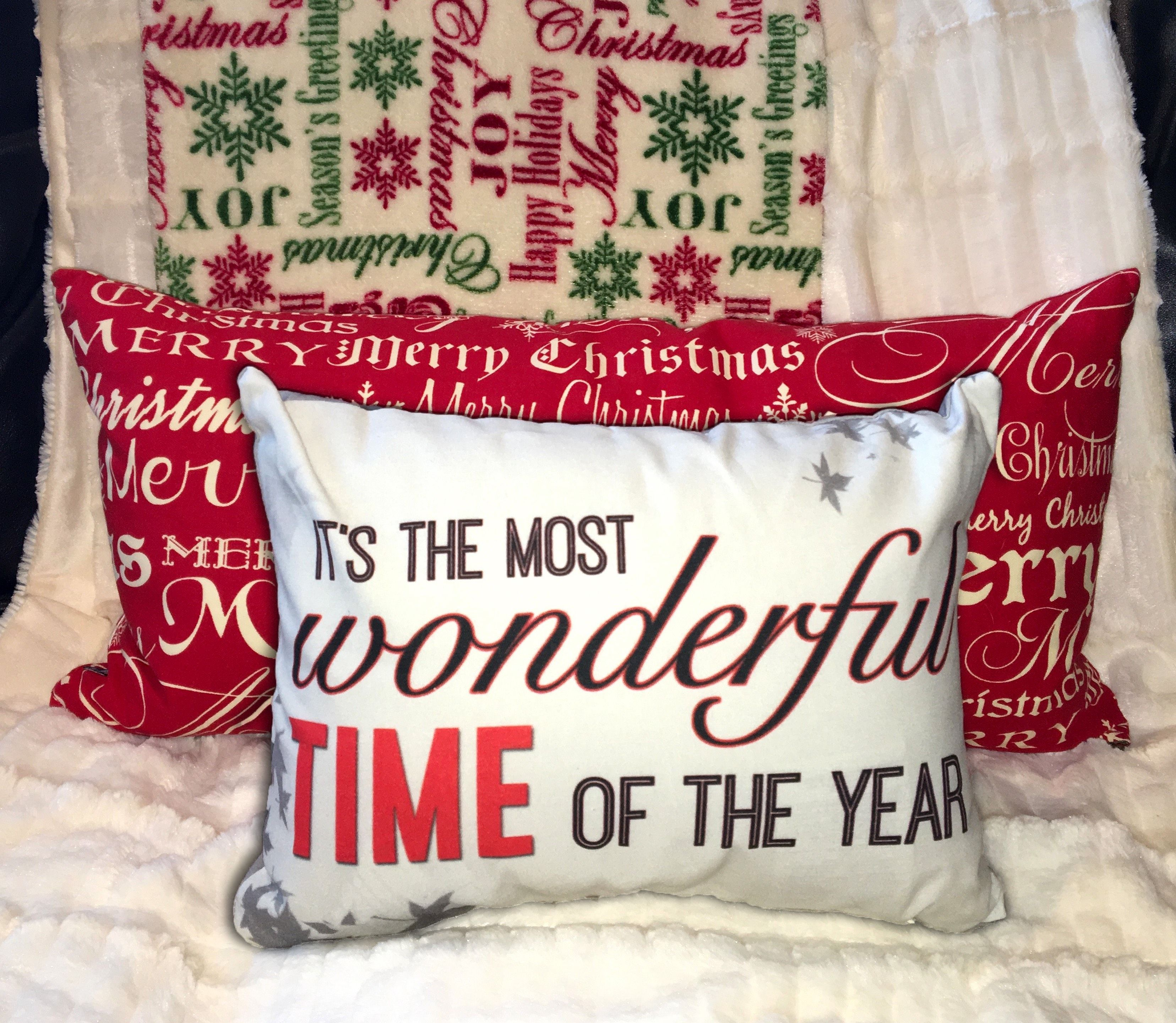Christmas Double-Sided Cotton Pillow - Christmas Decor - Home Decor - Quote - Most Wonderful Time of the Year - Art - Typography