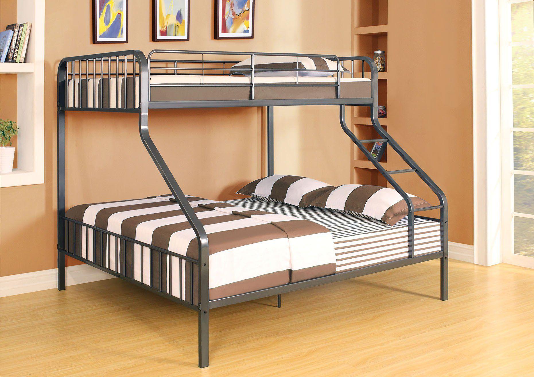 ACME 37605 CAIUS GUNMETAL TWIN XL QUEEN BUNK BED Queen