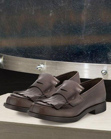 Prada Kiltie Leather Penny Loafer W/Fringe, Brown