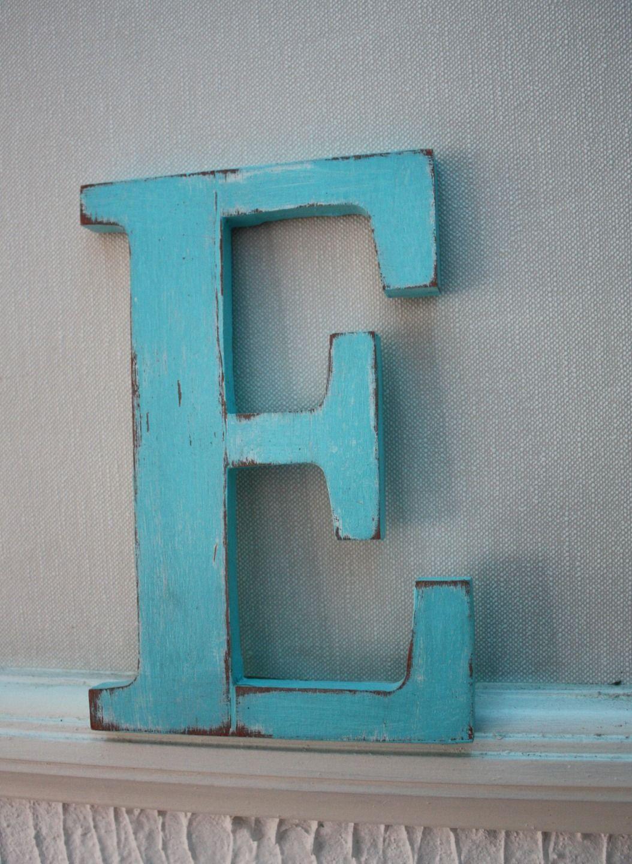 D Coration Murale Lettre En Bois E Bleu Ciel Patin E D Corations