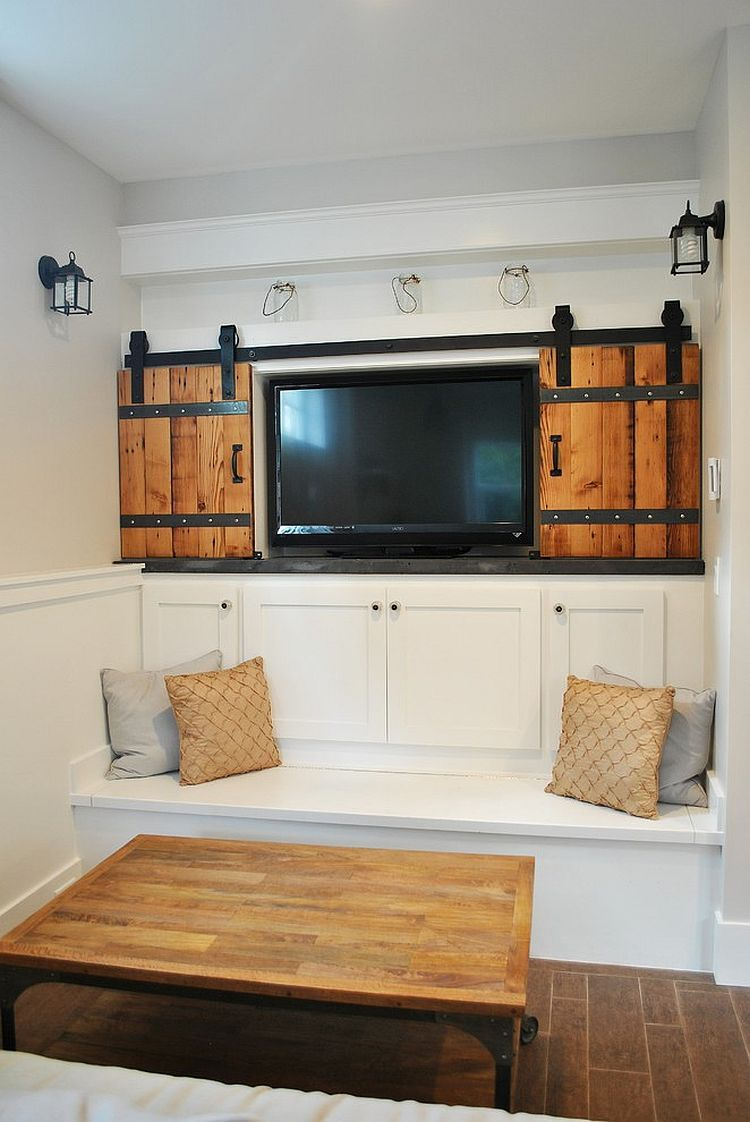 living room wall cabinets built%0A    Ingenious Living Rooms That Showcase the Beauty of Sliding Barn Doors