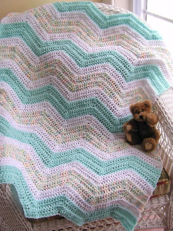 chevron zig zag crochet knit baby blanket afghan wrap toddler ripple ...