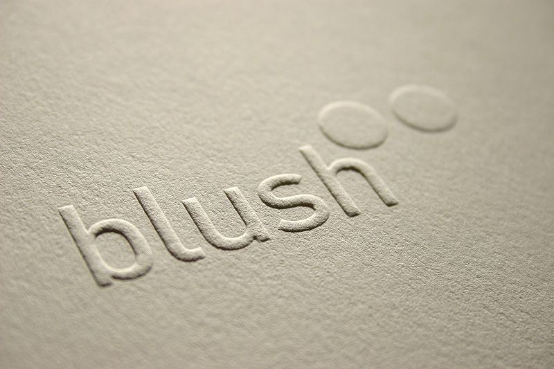blind embossed type on 300gsm cotton paper blush publishing