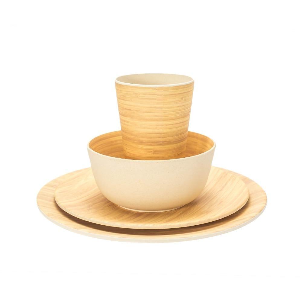 Lekoch Bamboo Fiber 4 Pcs Set Tableware Set Bamboo Pattern Plate Bamboo Powder Fiber Dinnerware Plate Bowl Cup Tableware Set Patterned Plates Bamboo Tableware