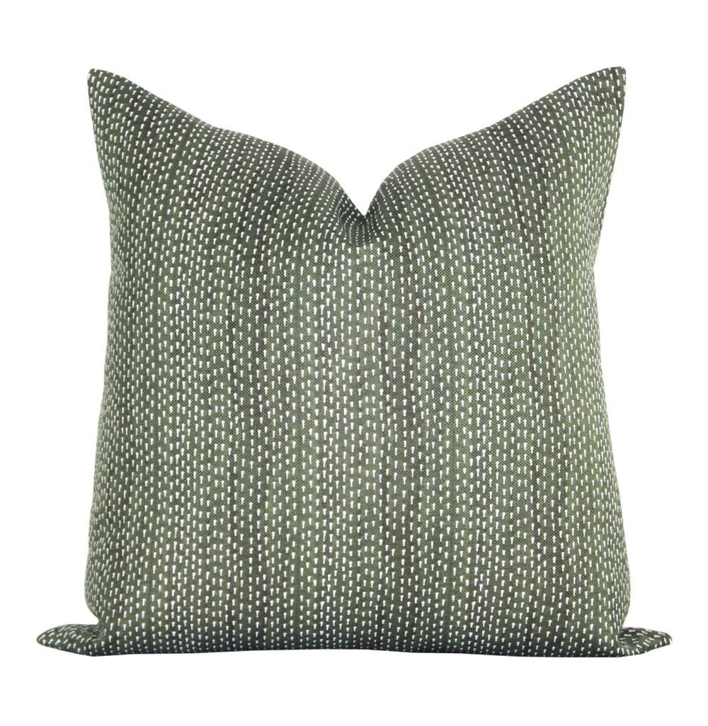 Pillow cover, Kantha Willow, green dots, Spark Modern pillow