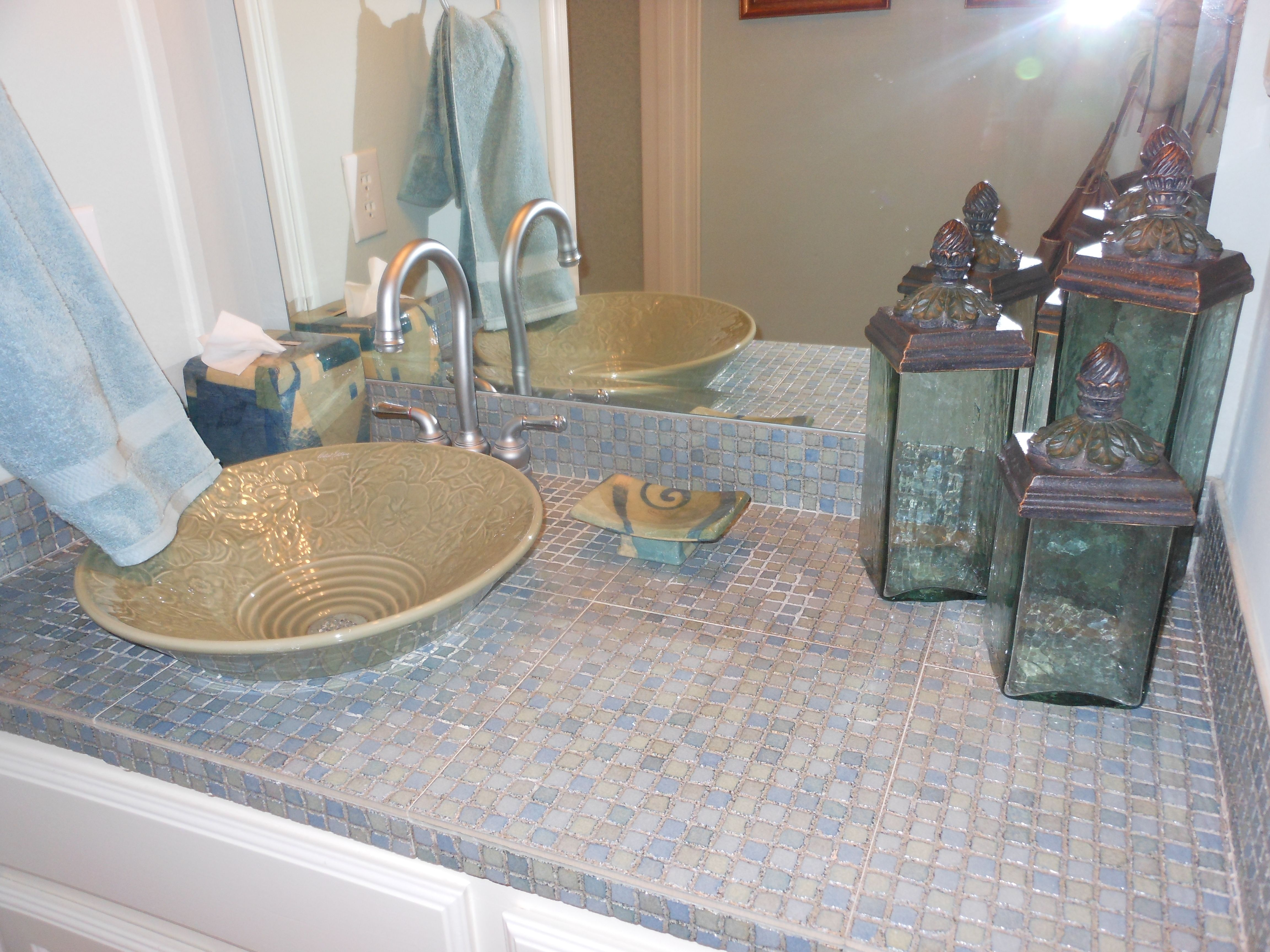 Save Money By Using Small Mosaic Tile For Your Bathroom Countertop