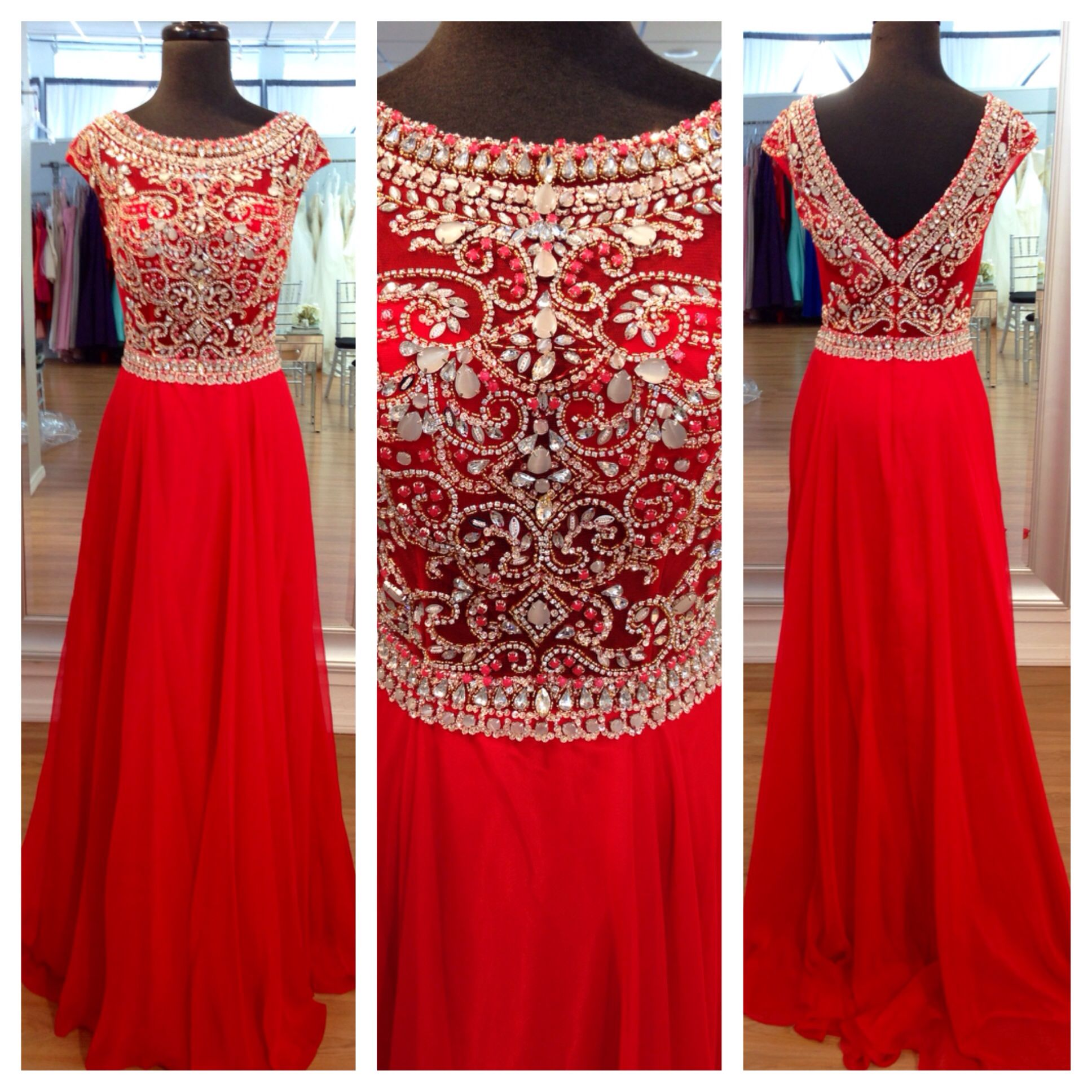 Jovani for available in red aqua and nude