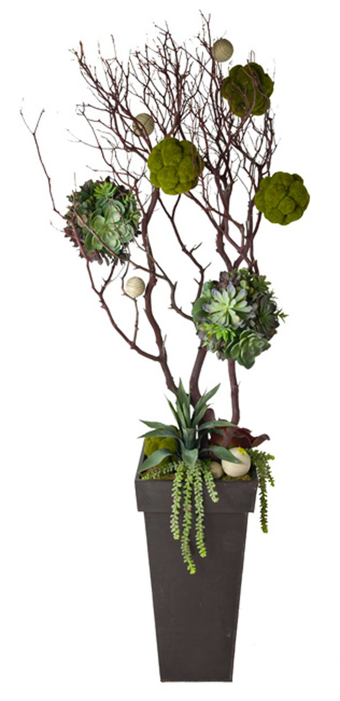 Manzanita Branch With Succulent And Moss Covered Balls Artificial