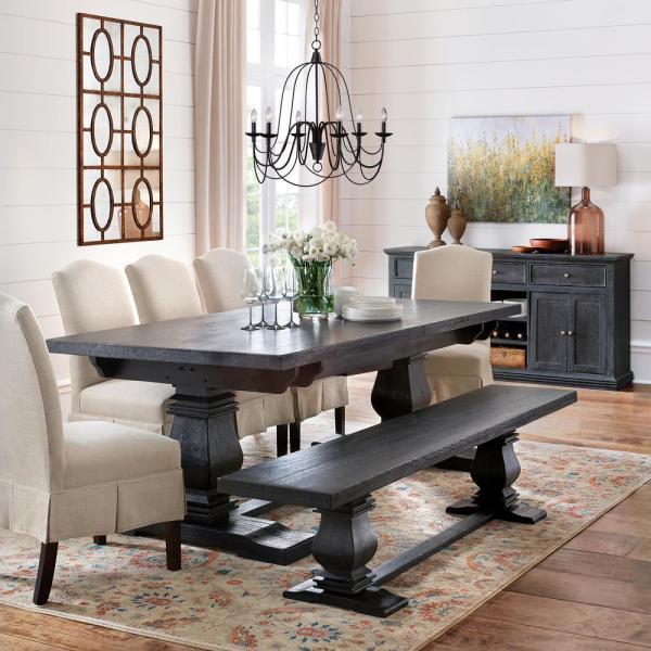 Aldridge Washed Black Extendable Dining Table Nb023wb Black