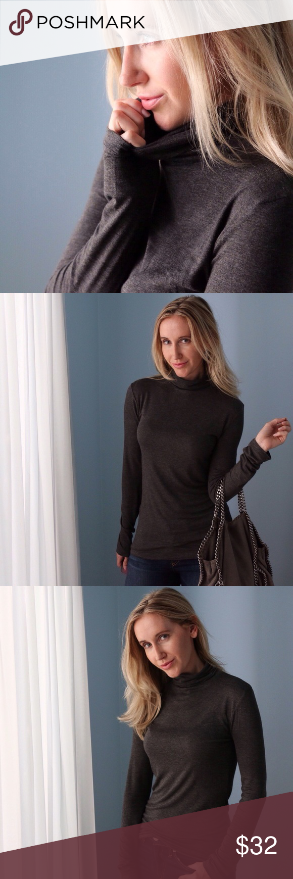 🆕Gramercy Turtleneck | Charcoal ◽️The Gramercy Turtleneck is my personal #1 basic in the Fall/Winter. Being from NY, I live in turtlenecks 6 months of the year. This top is simple and incredibly soft, perfect fit - not too loose or tight, nice stretch, great length. Classic charcoal color. Goes with everything and also perfect for layering. 95% rayon/5% spandex. Nonsheer. New without tag. Also for sale in Navy.  ▫️Sizes available: S | M | L ▫️I am modeling size S ▫️Price is firm 📷 Photos…