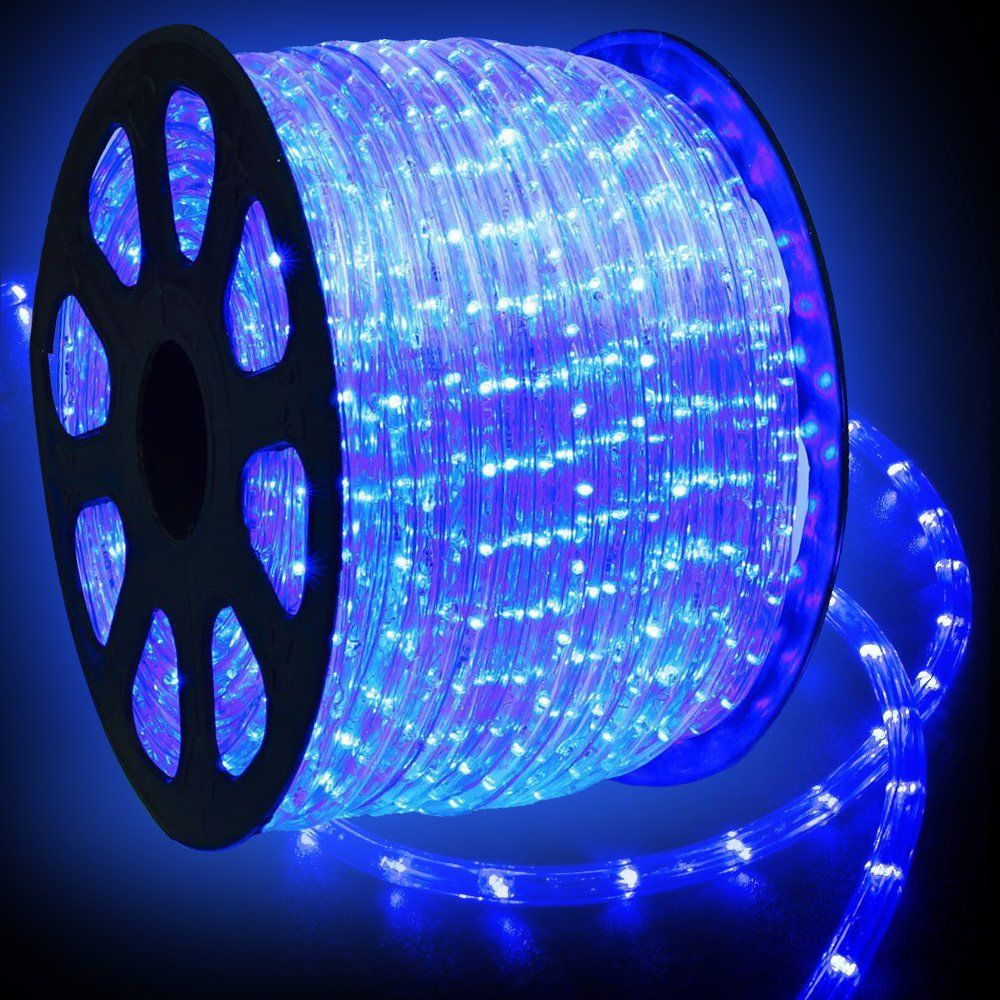 Wyzworks 300 Feet Blue Led Rope Lights Flexible 2 Wire Accent