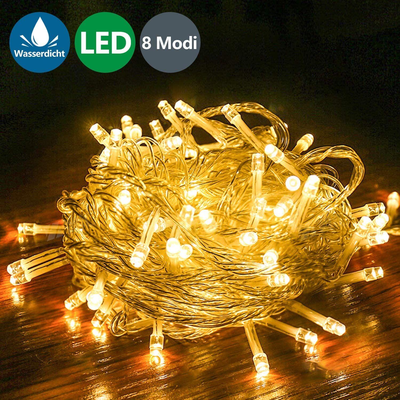 LED Batterie Lichterkette Beleuchtung Innen Außen Weihnachten Garten Warmweiß 10