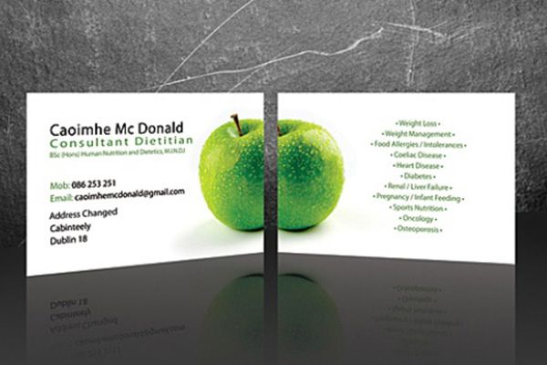 Caoimhe Mc Donald Medical Business Card, simple design intended for Dietitian Consultants.