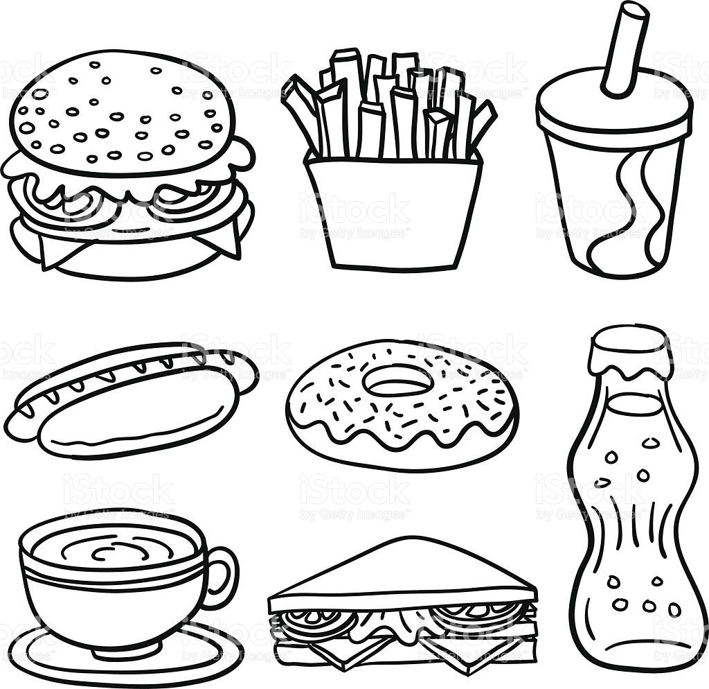 8 sketch drawing of fastfood in line drawing