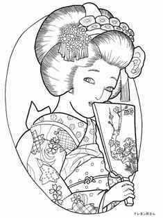 羽子板を持つ着物の女性の塗り絵 塗り絵 絵パズル ぬり絵