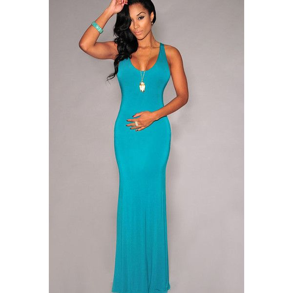 Turquoise Womens Strap Bandage Plain Crew Neck Maxi Evening Dress ($23) ❤ liked on Polyvore featuring dresses, turquoise, turquoise blue dress, maxi cocktail dress, crew neck maxi dress, turquoise bandage dress and maxi dress