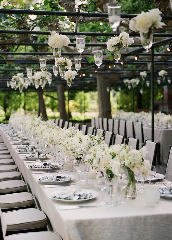 long table setup wedding reception%0A One big wedding trend we u    re seeing this year is banquetstyle seating  From  linens to arrangements  place settings to chairs  there are endless ways  for