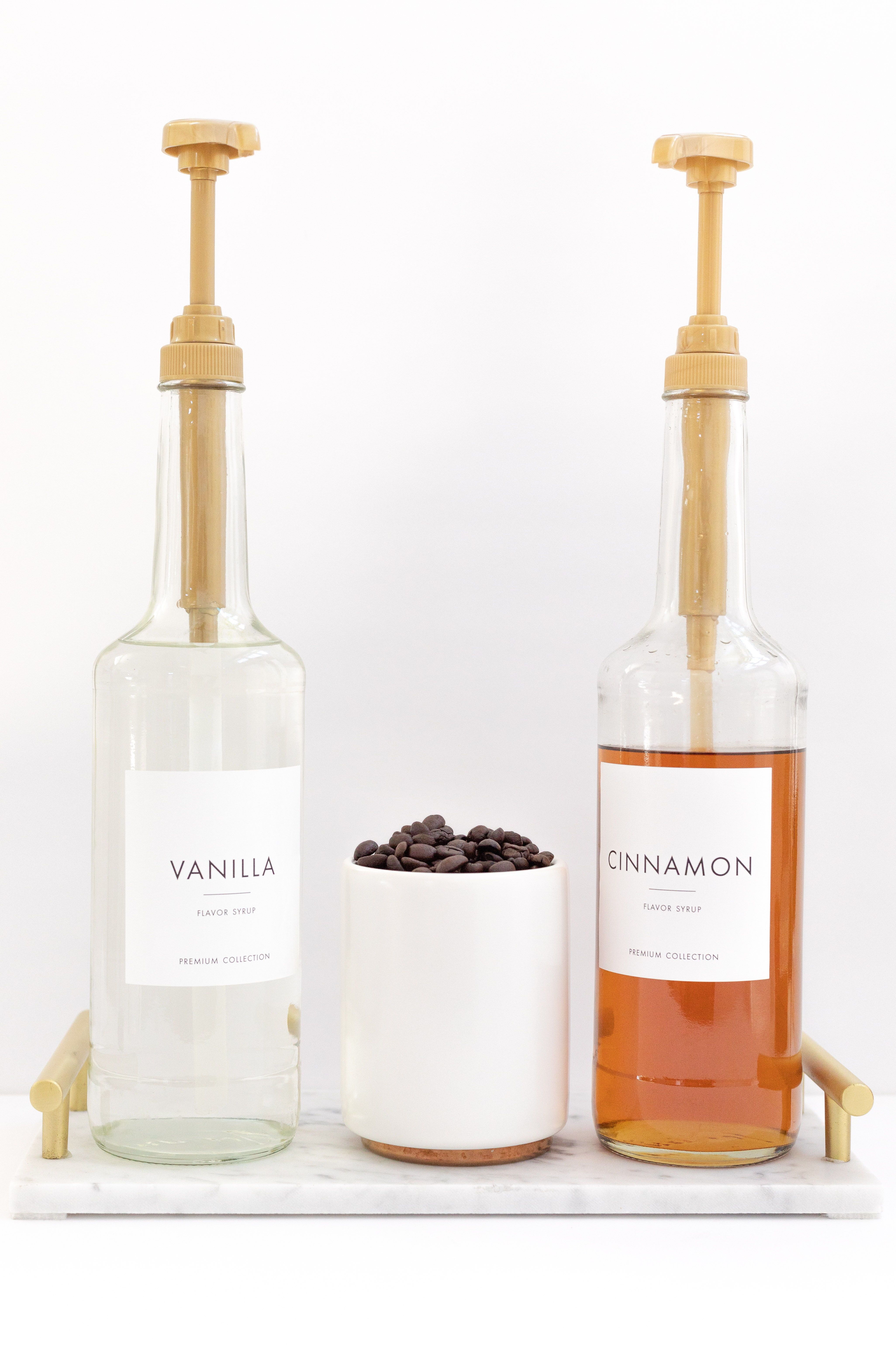 Modern coffee flavor syrup labels - organized look