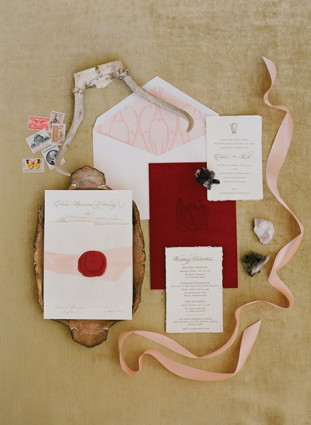 Crimson and blush pink wedding invitation suite with gold script, a ...