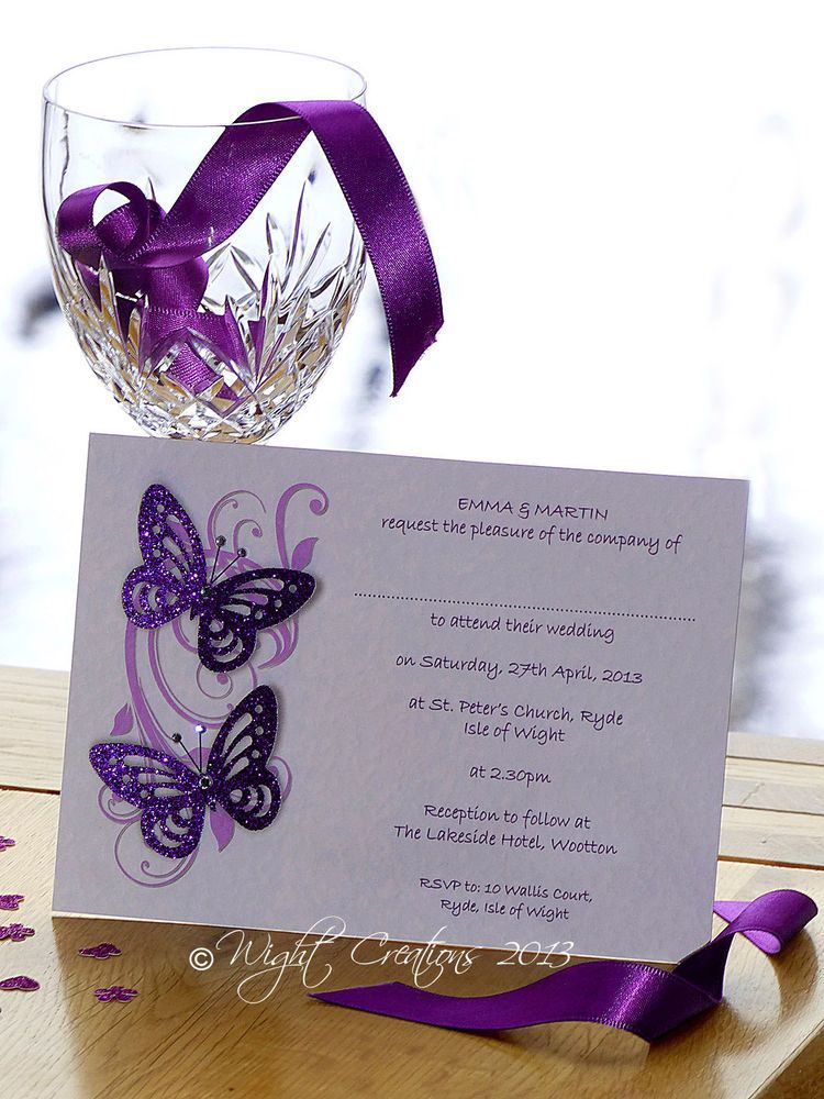 Purple butterfly wedding invitation idea effect