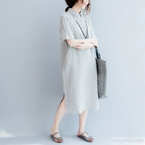 9cad9027d0 Gray linen dresses summer plus size linen shirt dress long linen caftans  2017 collection