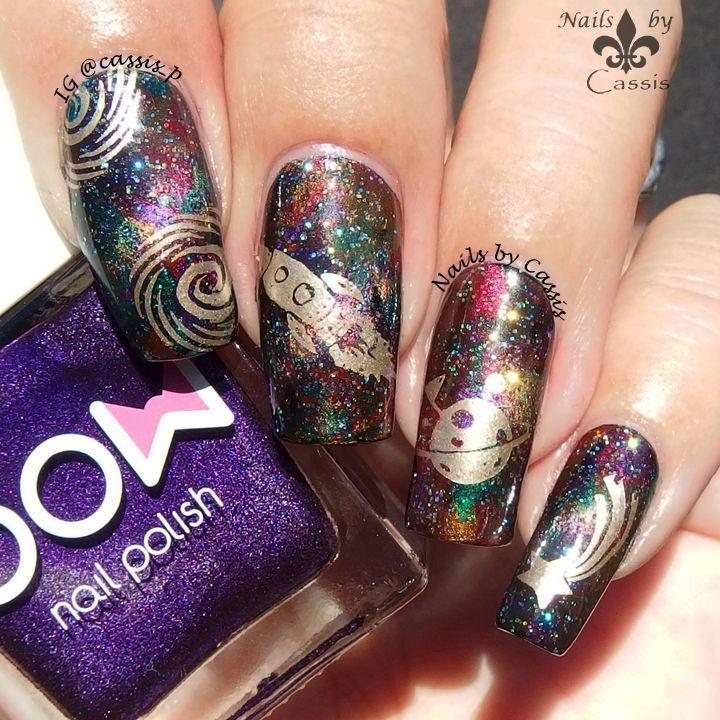 Galaxy Nail Using Magnetic Polish & hēhē Stamping Plate - Nails by ...