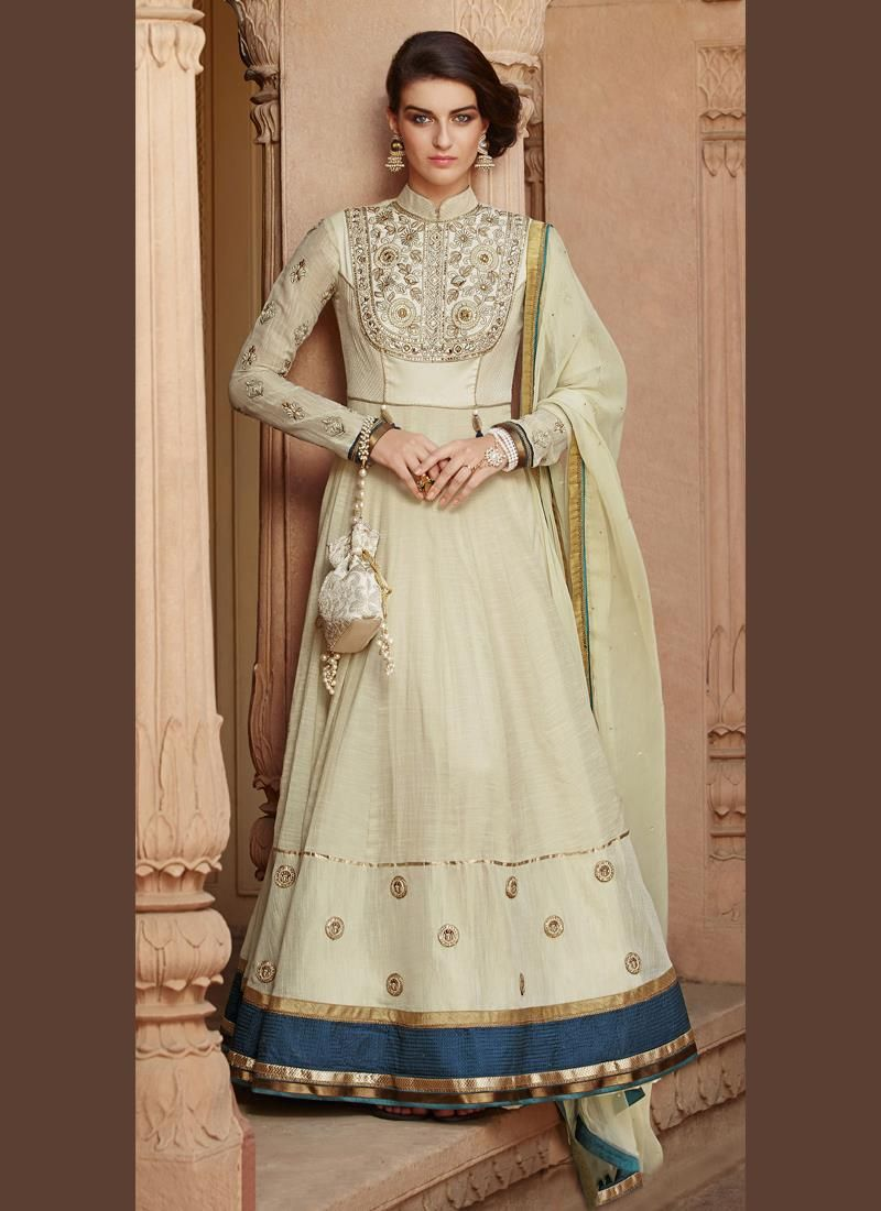 Chic embroidered work tussar silk anarkali salwar kameez dresses