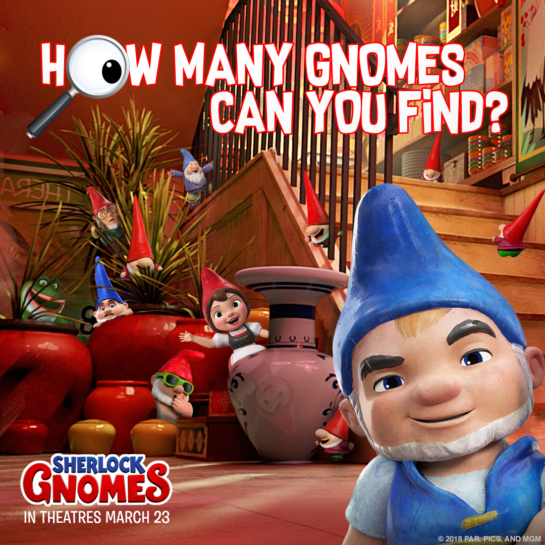 Keep Your Eyes Peeled Can You Count All The Gnomes In This Picture Sherlockgnomes Gnomes Dog Books Sherlock