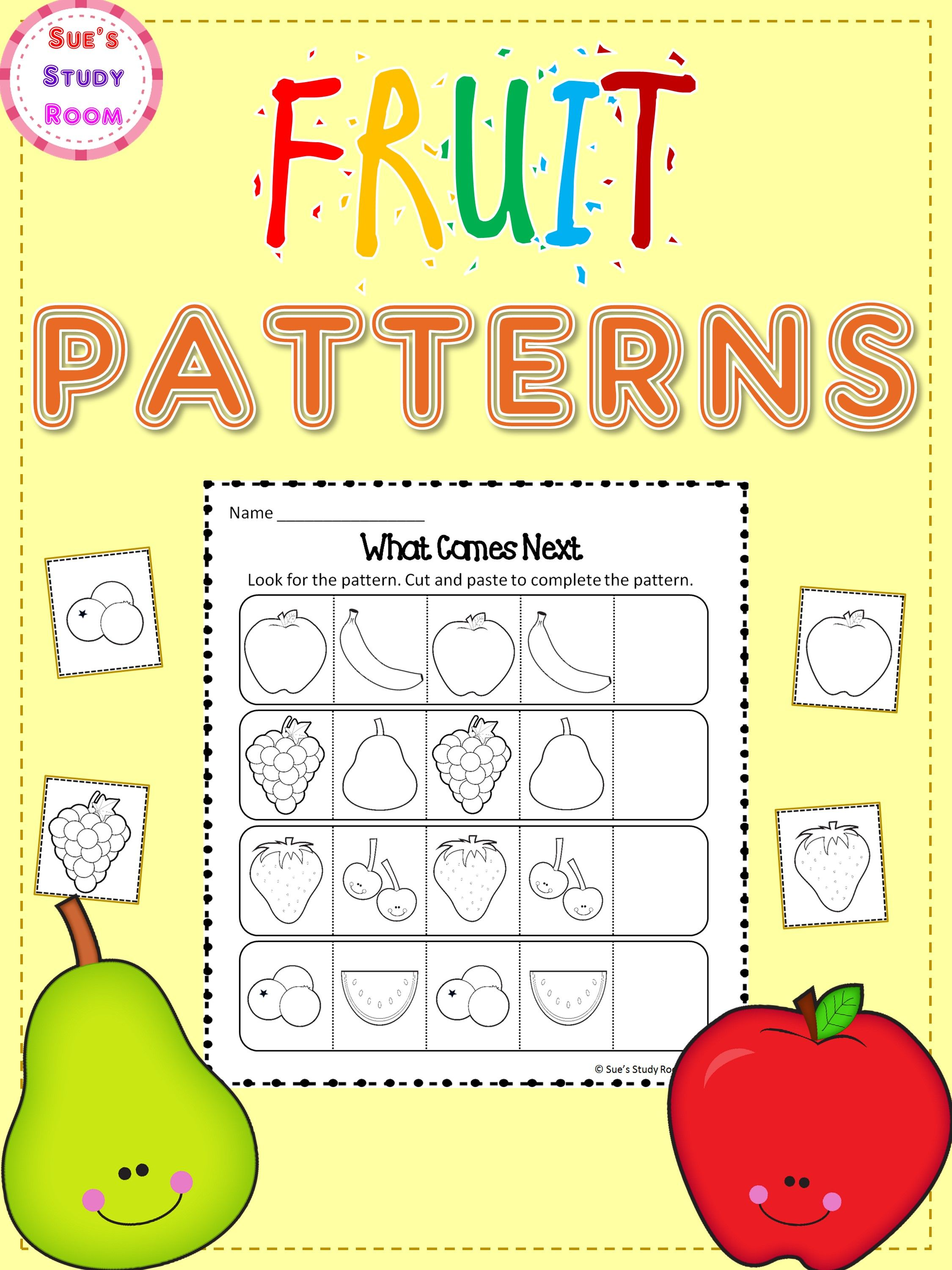 Patterns Fruit Patterns Worksheets