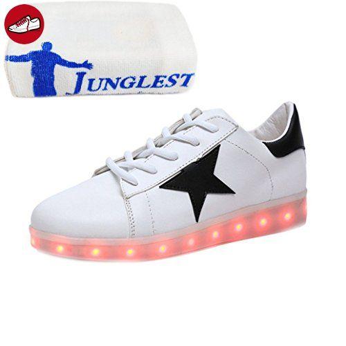 (Present:kleines Handtuch)Schwarz EU 46, Freizeit Led Sneakers Schuhe Top Sport Licht Farbwechsel Blinkende Damen JUNGLEST®