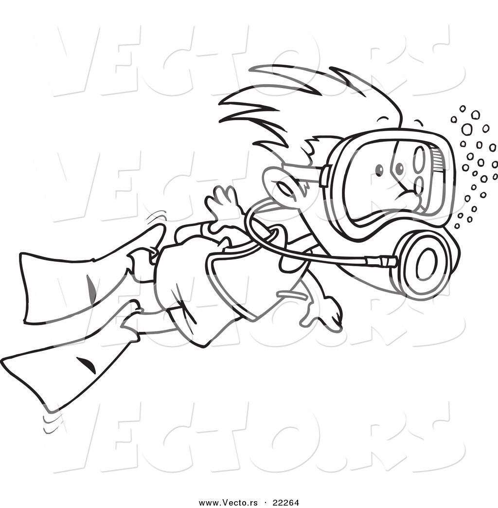 Vector Of A Cartoon Scuba Diving Boy Outlined Coloring Page