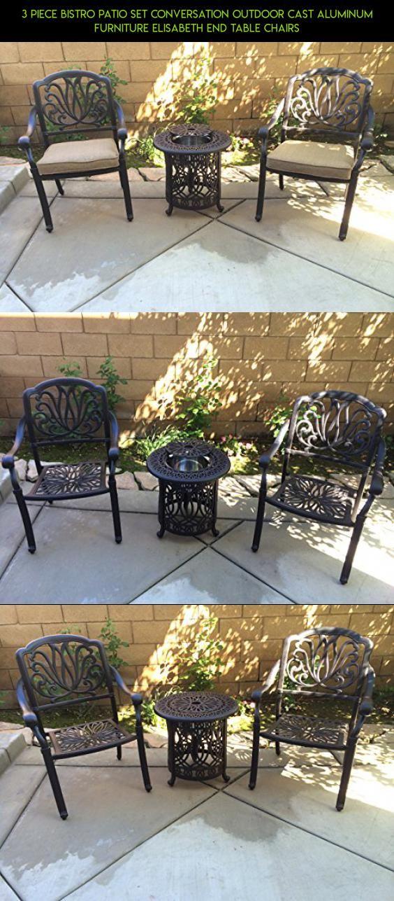 3 Piece Bistro Patio Set Conversation Outdoor Cast Aluminum Furniture  Elisabeth End Table Chairs #racing