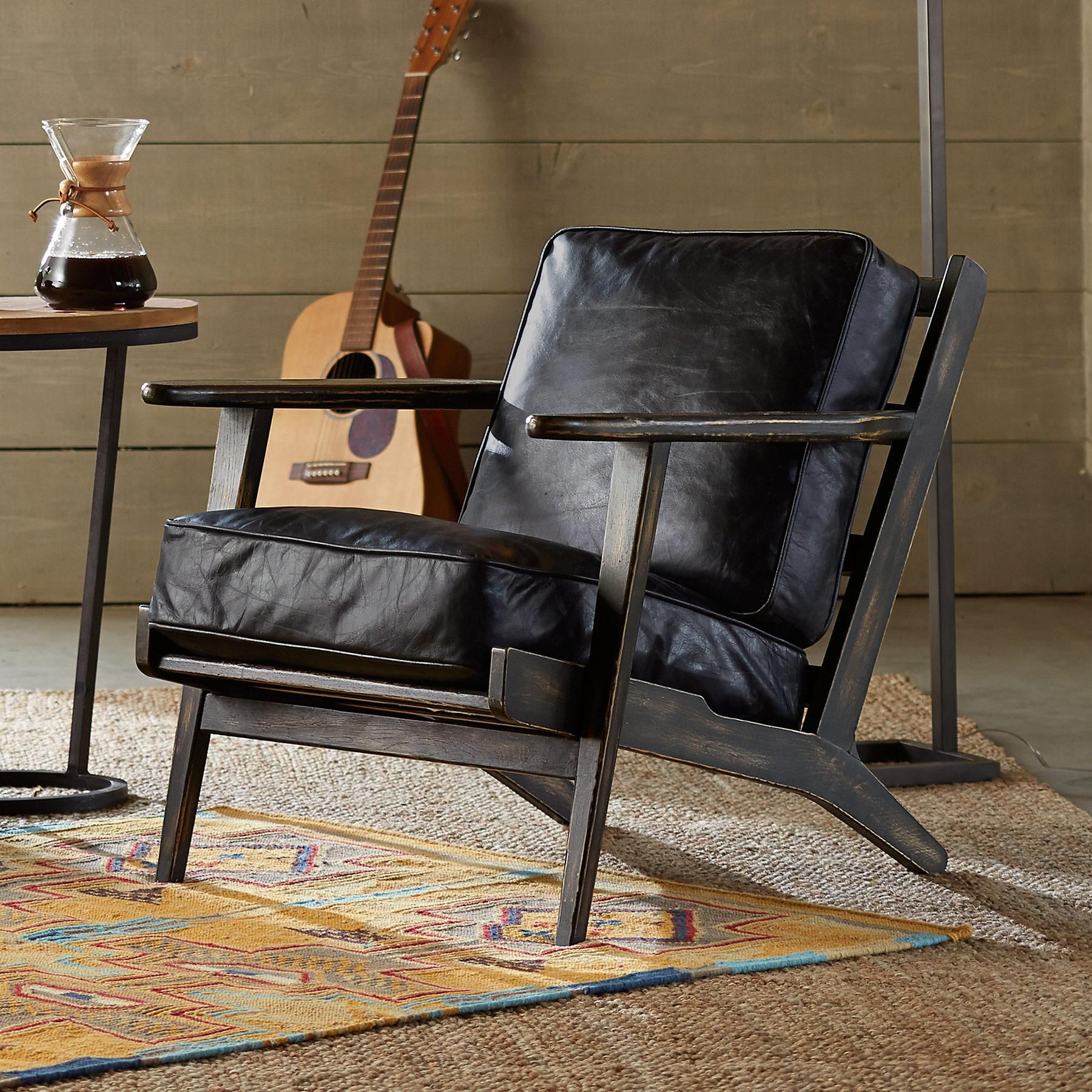 Composite Leather Sofa: Leather Loveseat, Black Leather