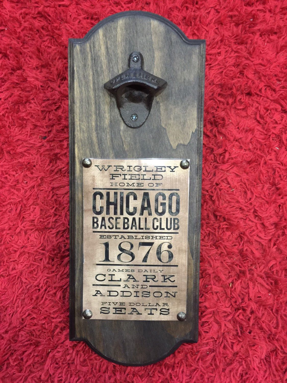 Chicago Cubs Vintage Style Wall Mounted Bottle Opener Perfect Groomsman Gift Or Father 39 Wall Mounted Bottle Opener Chicago Cubs Vintage Bottle Opener Wall