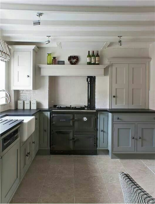 kitchen with lower cabinets painted in pigeon estate eggshell rh pinterest com