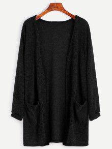 Black Fuzzy Cardigan With Pockets